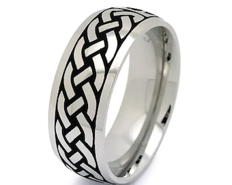 Tungsten Ring, Celtic Ring,Celtic Band for Men and Women, Celtic Wedding Ring,Men's Celtic Ring, Comfort Fit Tungsten Celtic Ring TCR744-8MM