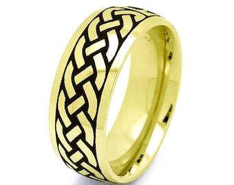 Celtic Ring, Mens Celtic Wedding  Ring Stainless Steel Wedding Band 6mm Size 6-15 SSR798-8mm-G