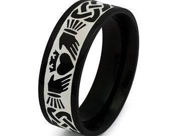 Claddagh Ring, Black Celtic Claddagh Wedding Ring, Mens Celtic Ring in Stainless Steel, Pipe Cut Claddagh Ring for Men and Woman 8mm-SSR782