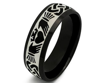 Claddagh Ring, Black Celtic Claddagh Wedding Ring,Mens Celtic Ring in Stainless Steel, Claddagh Ring for Men &Woman, Clacsic Dome 6mm-SSR789