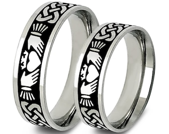 Claddagh Rings,Celtic Claddagh Wedding Rings,Celtic Band for Men and Women, Celtic Jewelry, Infinity Ring, Sterling Silver Celtic Ring Set