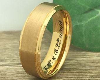 8mm Gold Plated Titanium  Wedding Band, Personalize Engrave Titanium  Ring,Gold Plated Tungsten Band, Comfort Fit