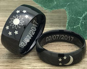 Moon and Stars Rings, His and Hers Personalize Engraved Titanium Rings, Black Plated Titanium Wedding Bands ,Promise Rings, Coordinates ring