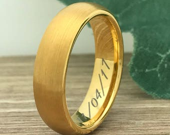 8mm Personalize Custom EngraveTungsten Wedding Band Ring, Gold Plated Tungsten Wedding Ring, Promise Ring, Men's Wedding Band
