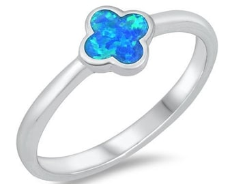 CLOVER Ring, FLOWER Clover Ring, Sterling Silver Lab Opal Ring, Women's Ring Free Engraving