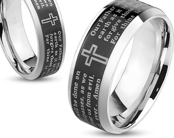 Lord's Prayer Ring, Personalize Custom Engrave Stainless Steel Ring, Laser Engrave Spinner Ring, Anniversary Ring, Father's Day Gift