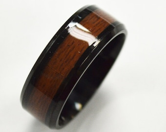 Wood Ring, Black Wedding Ring, Personalize Custom Engrave Stainless Steel Ring with Laminated Wood Inlay,Anniversary Ring, Father's Day Gift