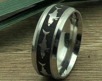 Shark Ring, Two Tone Stainless Steel Ring with Great White Shark Design,Laser Engraved Shark Design,Shark Ring for Men & Women, KKSSR906-8mm