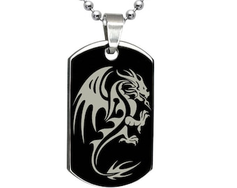 Dragon Dog Tag Necklace, Personalized Engrave Stainless Steel Dog Tag Necklace, Black Dog Tag Necklace, SSN521