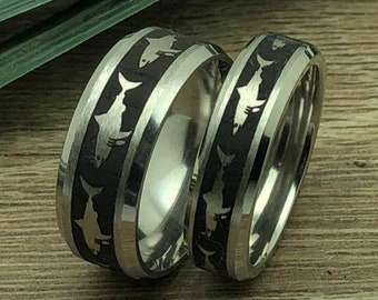 Shark Rings, His and Hers Titanium Rings With Great White Shark Design, Matching Couples Ring Set, Anniversary Ring for Men and Women