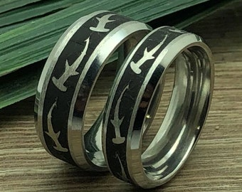 Shark Rings, His and Hers Titanium Rings With Hammerhead Shark Design, Matching Couples Ring Set, Anniversary Ring for Men and Women