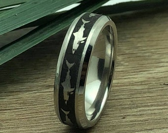 Shark Ring, Titanium Ring with Shark Design, Laser Engraved Shark Design, Shark Ring for Men and Women, Father's Day Gift-Comfort Fit, 6mm