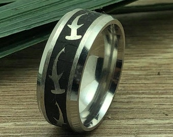 Shark Ring, Titanium Ring with Shark Design, Laser Engraved Shark Design, Shark Ring for Men and Women, Father's Day Gift-Comfort Fit