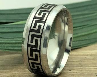 Greek Key Ring, Titanium Ring with Greek Key Design, Laser Engraved Greek Key Design for Men and Women, Father's Day Gift-Comfort Fit