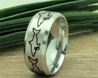 Shark Ring, Stainless Steel Ring with Shark Design, Laser Engraved Shark Design, Shark Ring for Men and Women, Father's Day Gift-KKSSR899
