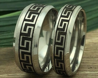 Greek Key Rings, His and Hers Greek Key Titanium Rings, Matching Couples Ring Set, Anniversary Ring for Men and Women