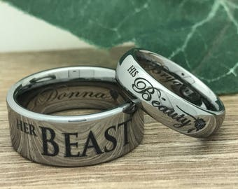 His Beauty Her Beast Tungsten Rings Personalized Engrave | Etsy