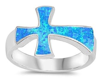 Cross Ring, Lab Opal Ring, Sideways Cross with  Lab Opal Ring Religious Ring, Sterling Silver Cross Ring with Lab Opal Inlay, Christian Ring
