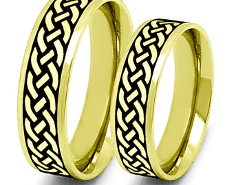 Celtic Rings,Celtic Band for Men and Women, Celtic Jewelry, Infinity Ring, 2-Tone Gold Plated Stainless Steel Celtic Ring-SSR779-G