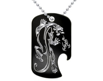 Tiger Necklace, Personalized Custom Engraved Aluminum Bottle Opener Dog Tag Necklace with Engraved Dragon Design, Made in USA - AN094