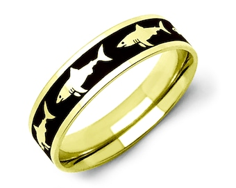 Shark Ring, Two Tone Gold Plated Shark Ring in Stainless Steel Ring with  Shark Design,Father's Day Gift, Pipe Cut -SSR774-G