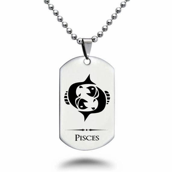 Zodiac Dog Tag Necklace: PISCES Zodiac Symbol Dog Tag Necklace Personalized Laser