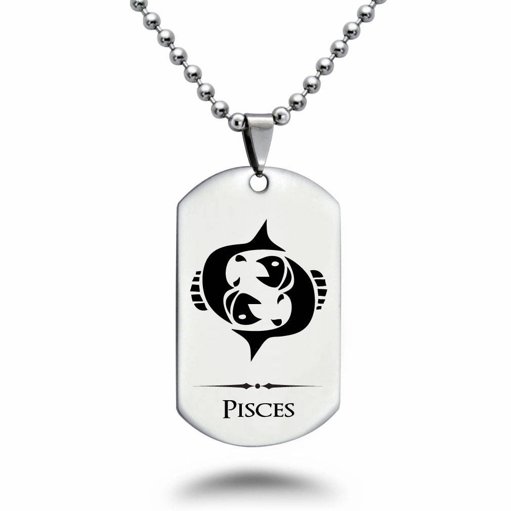 Engravable Chinese Zodiac Dog Tag Necklace: PISCES Zodiac Symbol Dog Tag Necklace Personalized Laser