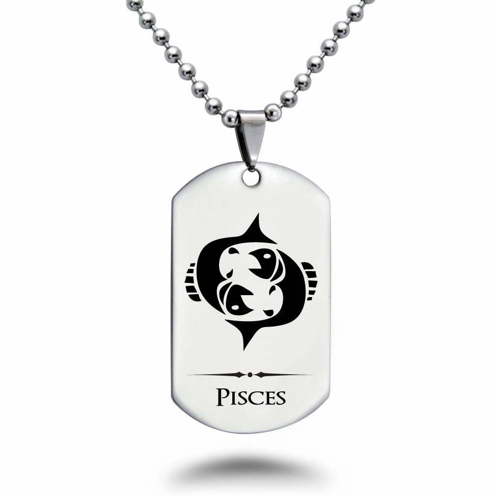 Zodiac Horoscope Dog Tag Necklace: PISCES Zodiac Symbol Dog Tag Necklace Personalized Laser