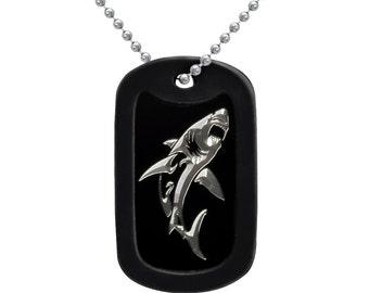 Shark Design Aluminum Dog Tag Necklace, Men's Dog Tag Necklace, Black Dog Tag Neckalce,  24 Inches Made in USA- AN101