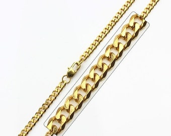 Gold Chain Men's Gold IP Plated Stainless Steel Curb Link Chain Necklace