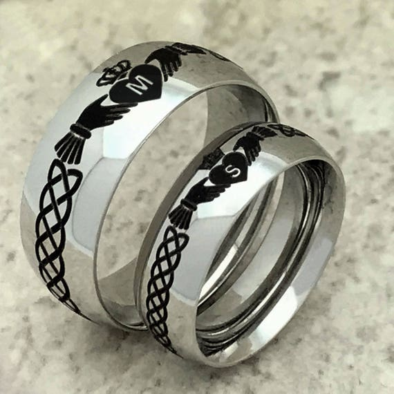 His /& Hers Tungsten Rings Celtic Claddagh Anniversary Rings Promise Ring