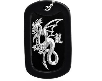 Dragon Necklace, Aluminum Dog Tag with Stainless Steel Bead Chain Necklace, Black Dog Tag Necklace Made in USA-AN019