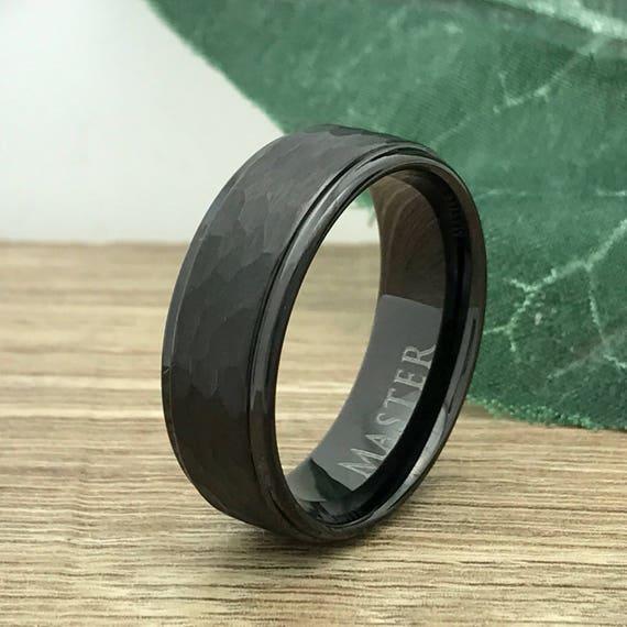Free Engraving 8mm Cobalt Black Enamel Plated with Laser Engraved Weave Pattern Wedding Band Ring Man or Ladies