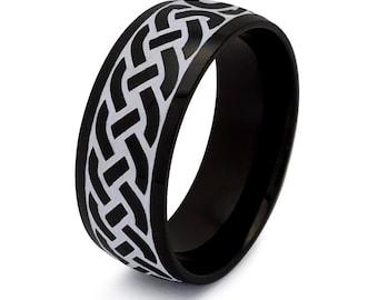 Celtic Ring, Mens Celtic Wedding  Ring For Men, Men's Wedding Band, Black IP PlatedStainless Steel Wedding Band Size 5-15 SSR799-8mm