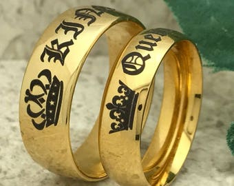 King and Queen Rings, Personalize Engrave Titanium  Rings,Yellow Gold Plated Titanium Bands with Engrave King and Queen Design