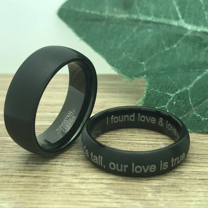 Personalize Custom Engrave Tungsten Carbide Ring Brushed Finish Ring 8mm6mm His /& Her Tungsten Wedding Ring Anniversary Ring Black Ring
