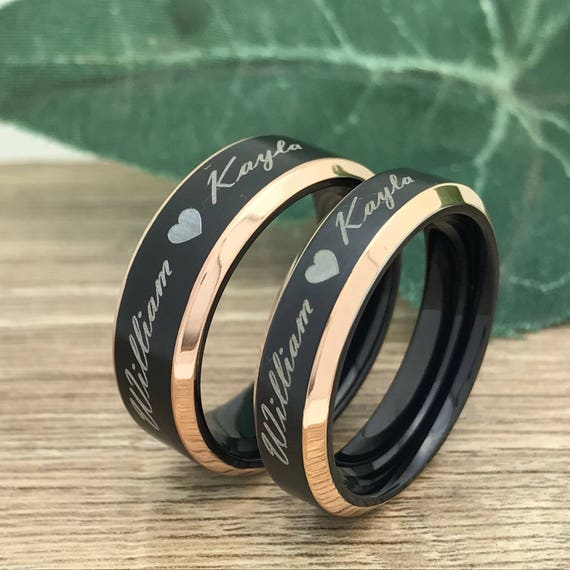 Couples Ring Set Anniversary Rings TRB205 Kriskate /& Co King and Queen Crown Ring His and Hers Titanium Ring