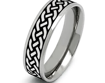 Celtic Ring, Mens Celtic Ring Sterling Silver Celtic Wedding Band, Customizable Ring Size 6-14, 6mm