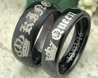 King and Queen Rings, Personalized Engraved Titanium Rings, 2 Piece Black Titanium Bands with Engrave King and Queen Design,Promise Rings