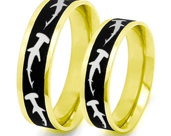 Shark Rings, Hammerhead Shark Rings, 2 Tone Gold Plated Stainless Steel Ring with Shark Design, Couples Ring Set, Customizable -SSR775-G