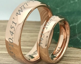 His and Hers Titanium Rings, Personalized Custom Engrave Rose Gold Plated Titanium Wedding Ring Sets, Couples Ring, Anniversary Ring Sets