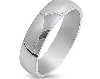 6MM Personalize Silver Stainless Steel Ring,  Anniversary Rings, Stainless Steel Ring SSR624-W