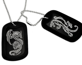 Dragon and Tiger Engraved Aluminum Dog Tag Necklace in Stainless Steel Bead Chain, Father's Day Gift 24 Inches - AN099
