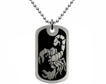 Scorpio Stainless Steel Dog Tag Necklace, Personalized Engraved Stainless Steel Dog Tag Necklace, Father's Day Gift, Gift For Dad