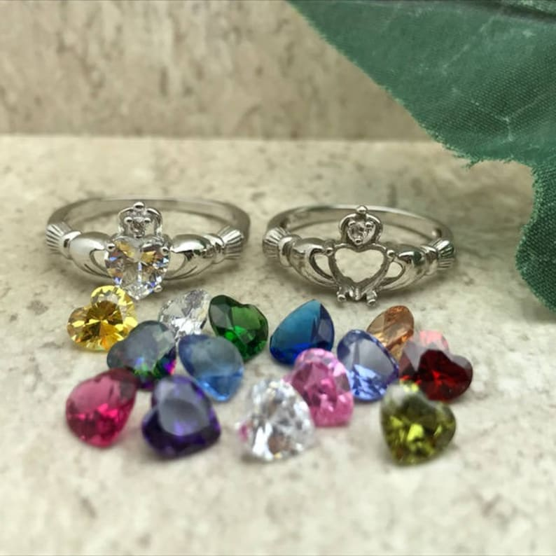 Claddagh Ring 925 Sterling Silver Claddagh Ring Birthstone image 0