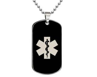 Medical Alert Dog Tag Necklace, Personalize Custom Engraved Medical Alert ID Stainless Steel Dog Tag Necklace, Black Dog Tag Necklace-SSN497