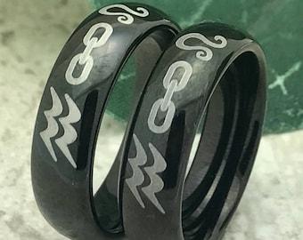 Zodiac Rings, Personalized Custom Engraved Titanium  Ring with Zodiac Sign Design, Black Titanium Ring, Anniversary Rings