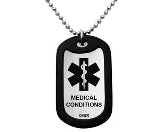 Stainless Steel Dog Tag Necklace, Custom Engraved Medical Alert ID Stainless Steel Dog Tag Necklace, Father's Day Gift Made in USA-SSN434