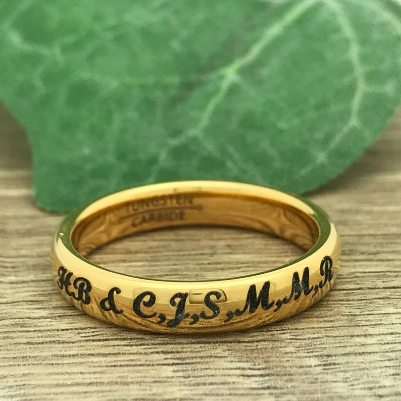Personalized Engrave Coordinates Ring Anniversary Ring Yellow Gold Plated Promise Ring 4mm Tungsten l Wedding Ring