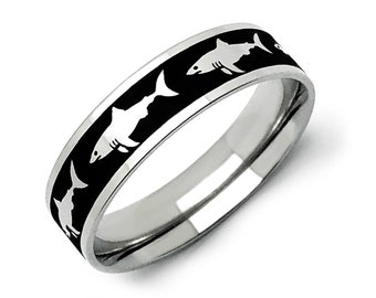 Shark Ring, 2-Tone Sterling Silver Ring with Shark Design, Pipe Cut Ring, Father's Day Gift, Customizable